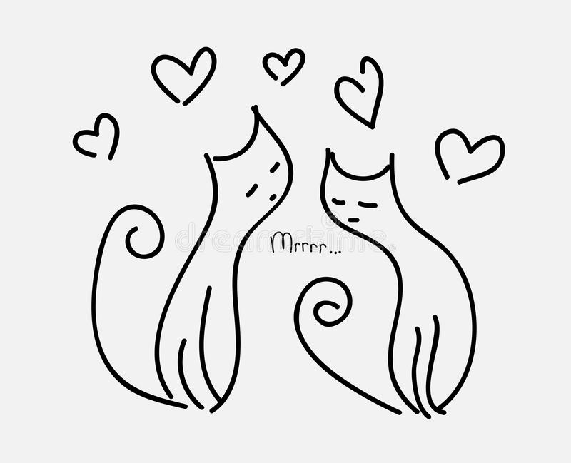 Two cats in love couple hearts fly purr vector illustration