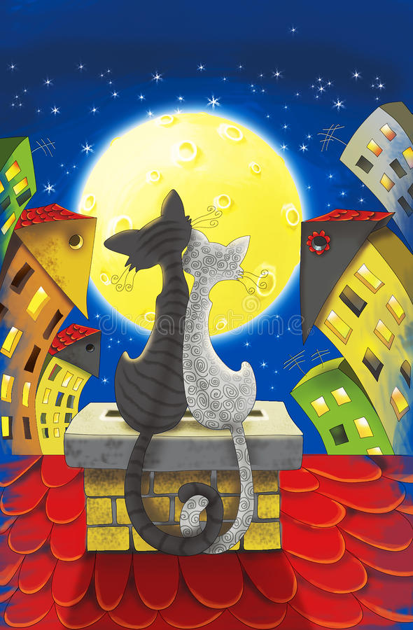 Two cats on the roof. Two cats sitting on the roof under the moon between houses royalty free illustration