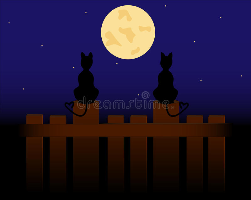 Two cats. Sit on the fence and look at the moon vector illustration