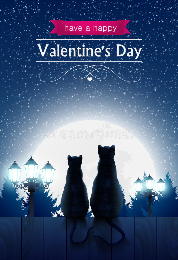 Two cats sitting on a fence looking at the fool moon vector illustration