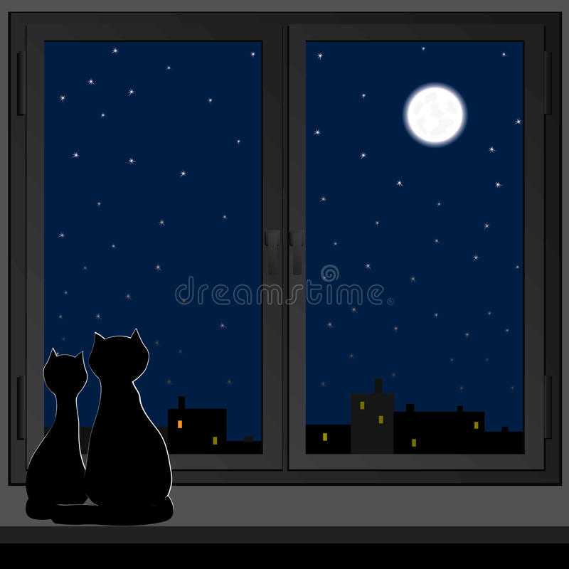 Two cats sitting on a windowsill. Two cats sitting on a windowsill and look at the moon vector illustration