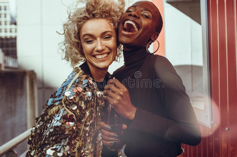 Female friends enjoying their weekend with fun stock photography