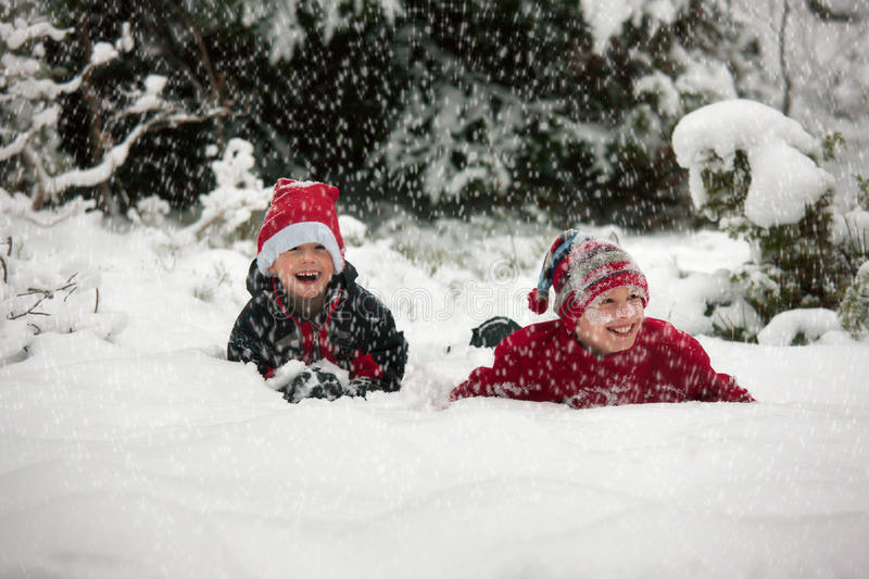 Two caucasian brothers in snow. Two happy young caucasian brothers plaing in the snow, laughing in the snowfall, one looking into the camera stock photo