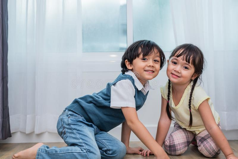 Two Caucasians brother and sister portrait. Children and kids co. Ncept. People and lifestyles concept. Happy family and sibling love theme stock image