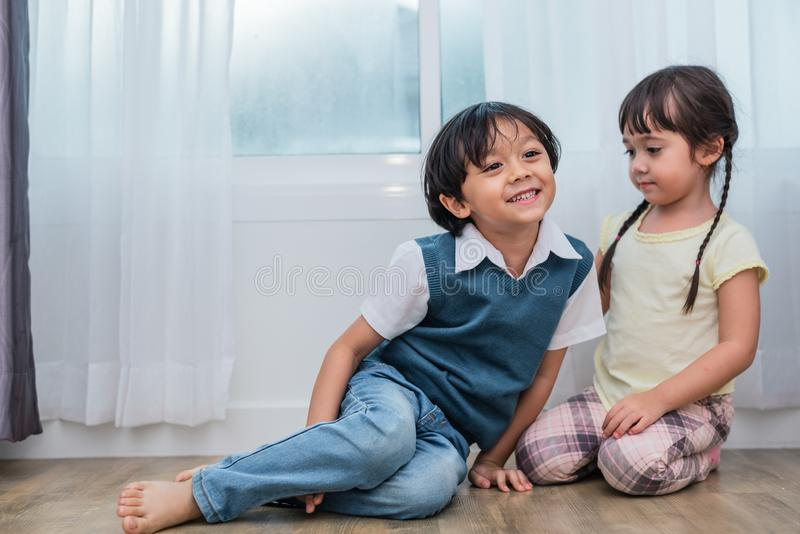 Two Caucasians brother and sister portrait. Children and kids concept. People and lifestyles concept. Happy family and sibling. Love theme stock photography