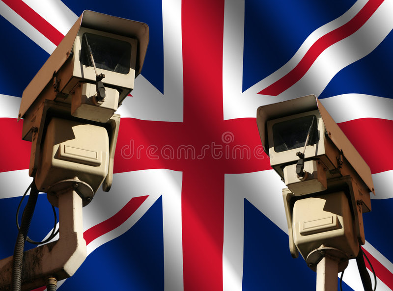 Two cctv cameras with flag vector illustration
