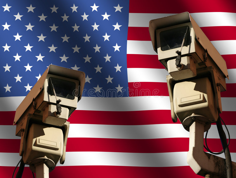 Two cctv cameras with flag royalty free illustration