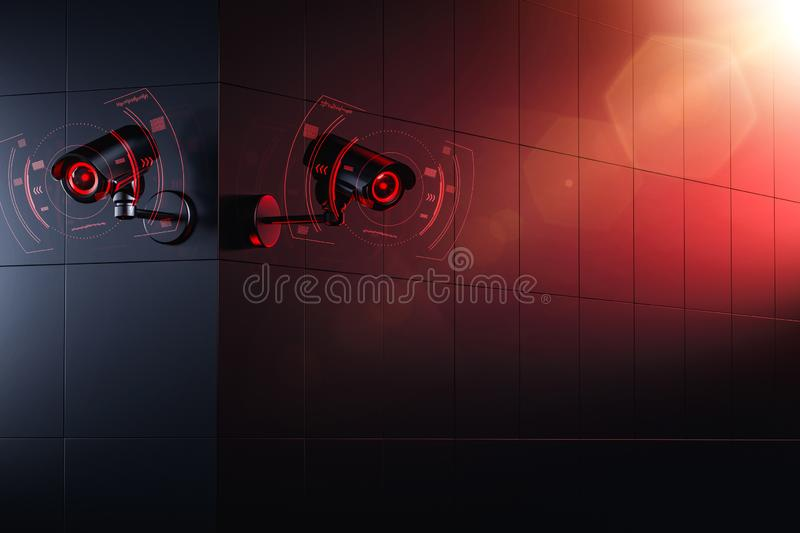 Two Cctv cameras are scanning and checking for information about citizen in surveillance security system. Social credit system royalty free illustration
