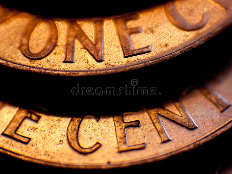 Two Cents. Two U.S. pennies stacked on eachother royalty free stock photography