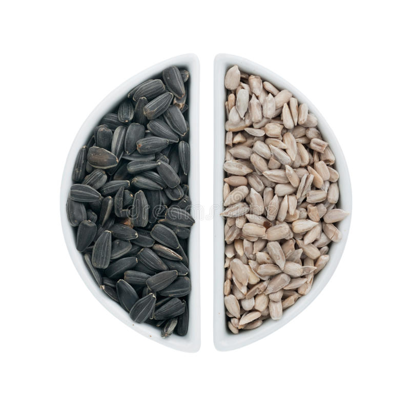 Download Two Ceramic Plates With Sunflower Seeds Stock Photo - Image: 35602620