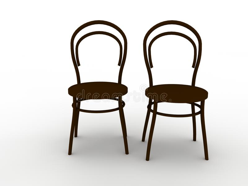 Two chairs. An illustration of two chairs side by side stock illustration