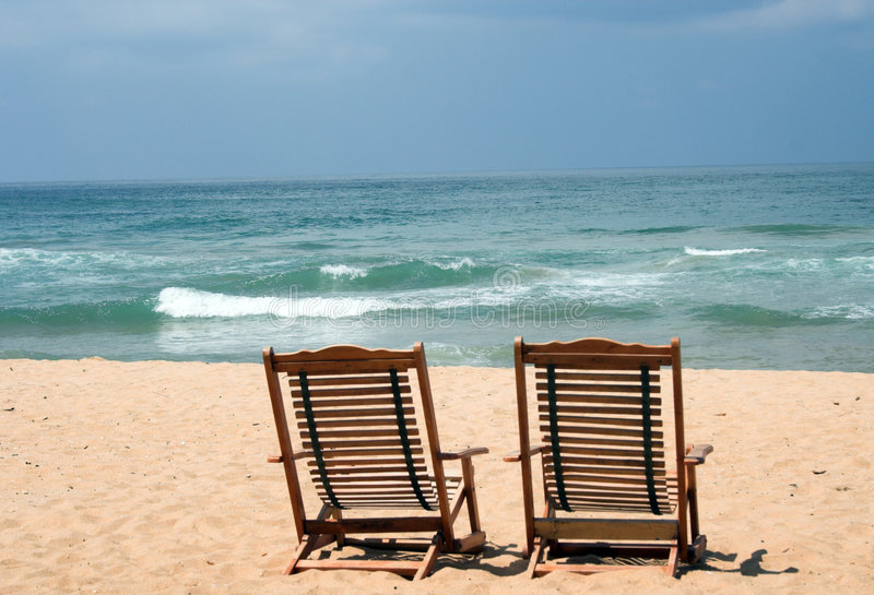 Download Two Chairs at the beach stock image. Image of lonely, lanka - 674037