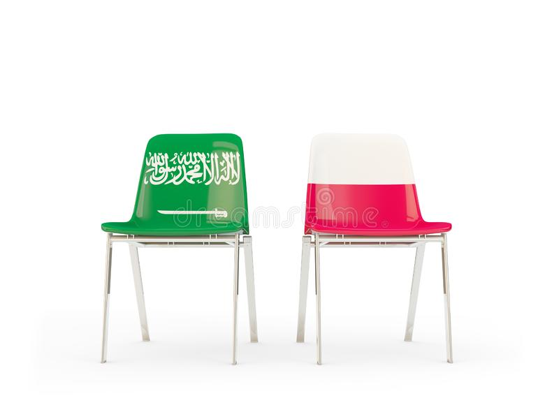 Two chairs with flags of Saudi Arabia and poland isolated on white royalty free illustration