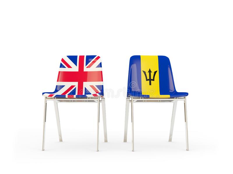 Two chairs with flags of United Kingdom and barbados isolated on white. Communication/dialog concept. 3D illustration royalty free illustration