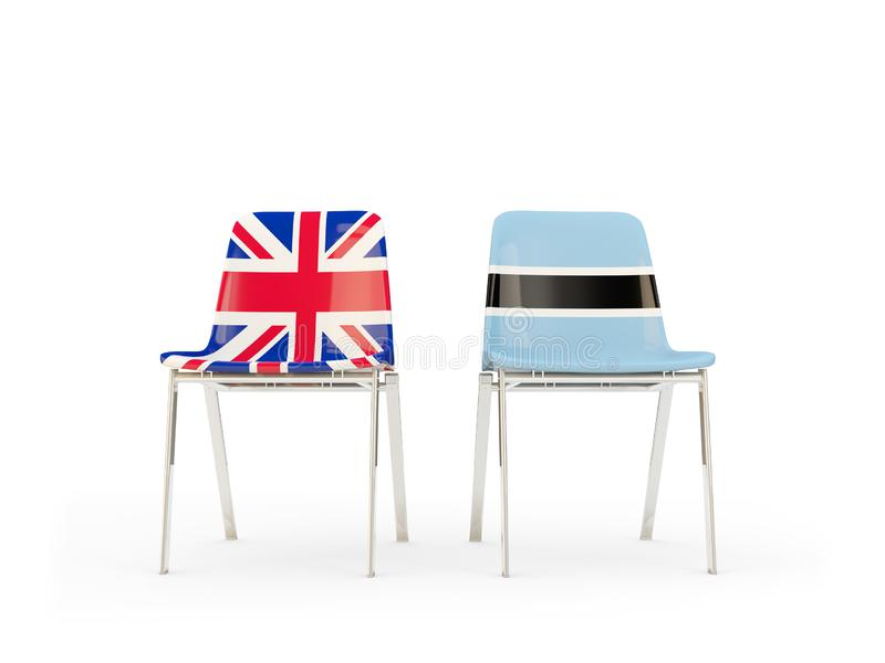 Two chairs with flags of United Kingdom and botswana isolated on white. Communication/dialog concept. 3D illustration royalty free illustration