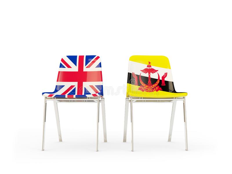 Two chairs with flags of United Kingdom and brunei isolated on white. Communication/dialog concept. 3D illustration stock illustration