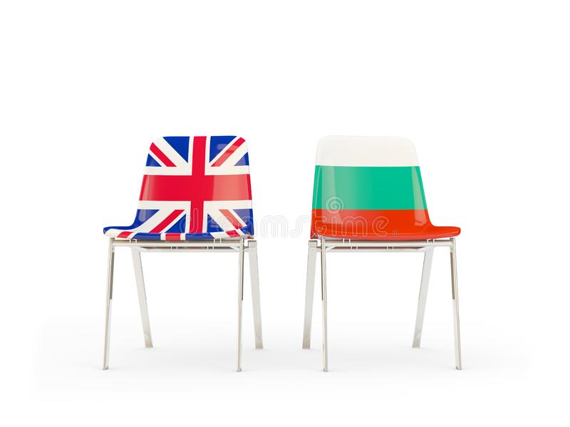 Two chairs with flags of United Kingdom and bulgaria isolated on white. Communication/dialog concept. 3D illustration royalty free illustration