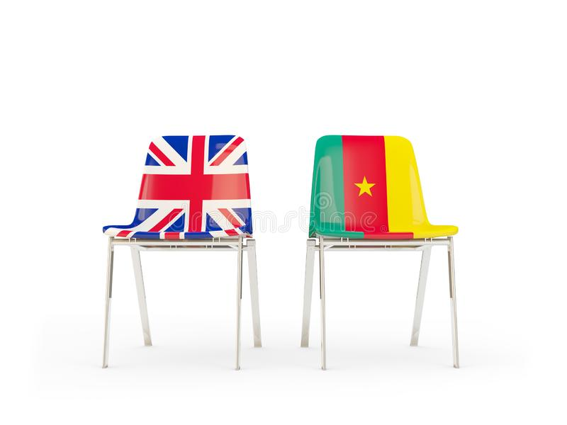 Two chairs with flags of United Kingdom and cameroon isolated on white. Communication/dialog concept. 3D illustration vector illustration