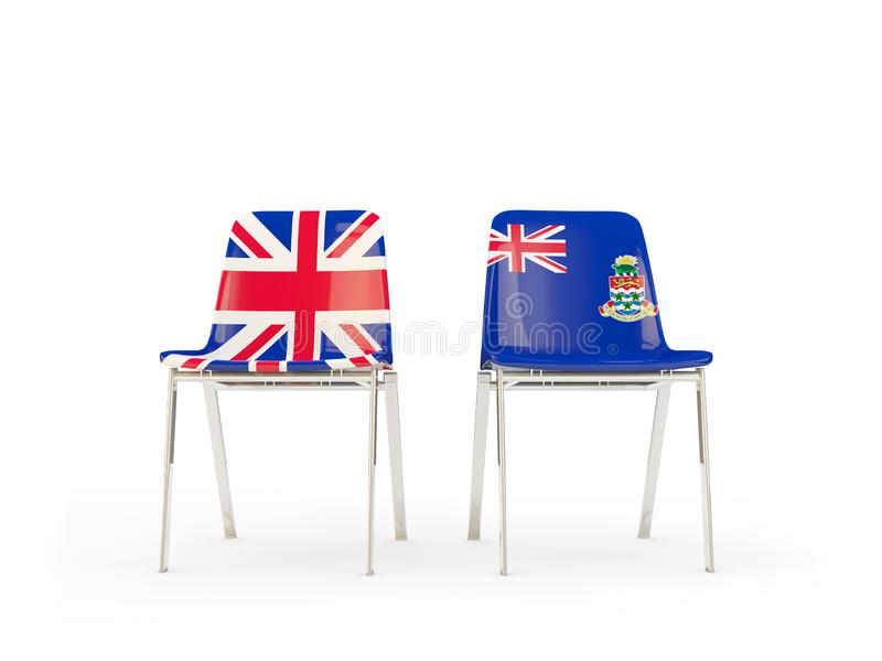 Two chairs with flags of United Kingdom and cayman islands isolated on white. Communication/dialog concept. 3D illustration stock illustration