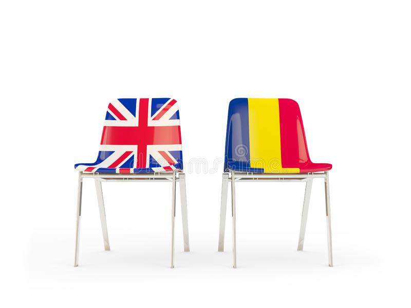 Two chairs with flags of United Kingdom and chad isolated on white. Communication/dialog concept. 3D illustration royalty free illustration