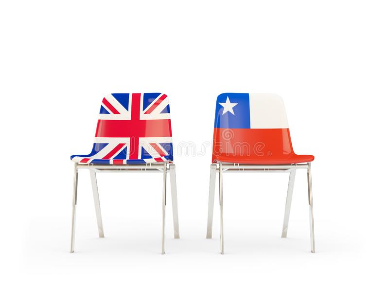Two chairs with flags of United Kingdom and chile isolated on white. Communication/dialog concept. 3D illustration vector illustration
