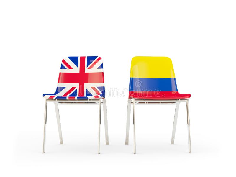 Two chairs with flags of United Kingdom and colombia isolated on white. Communication/dialog concept. 3D illustration royalty free illustration