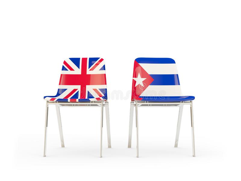 Two chairs with flags of United Kingdom and cuba isolated on white. Communication/dialog concept. 3D illustration stock illustration