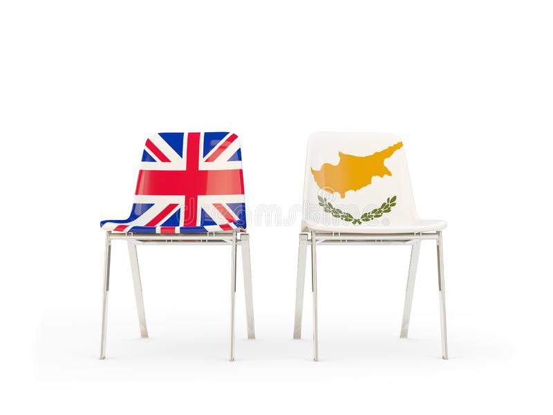 Two chairs with flags of United Kingdom and cyprus isolated on white. Communication/dialog concept. 3D illustration royalty free illustration