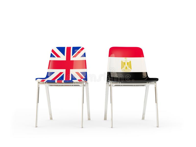Two chairs with flags of United Kingdom and egypt isolated on white. Communication/dialog concept. 3D illustration royalty free illustration