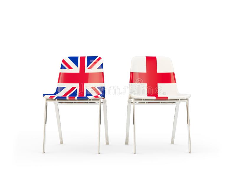 Two chairs with flags of United Kingdom and england isolated on white. Communication/dialog concept. 3D illustration stock illustration