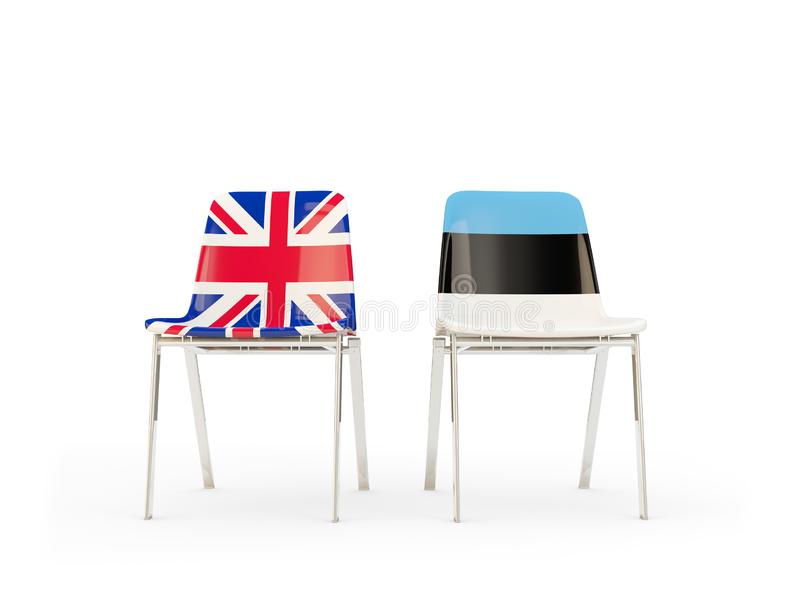Two chairs with flags of United Kingdom and estonia isolated on white. Communication/dialog concept. 3D illustration royalty free illustration