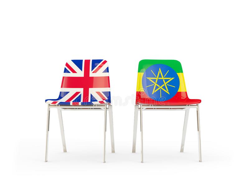 Two chairs with flags of United Kingdom and ethiopia isolated on white. Communication/dialog concept. 3D illustration vector illustration
