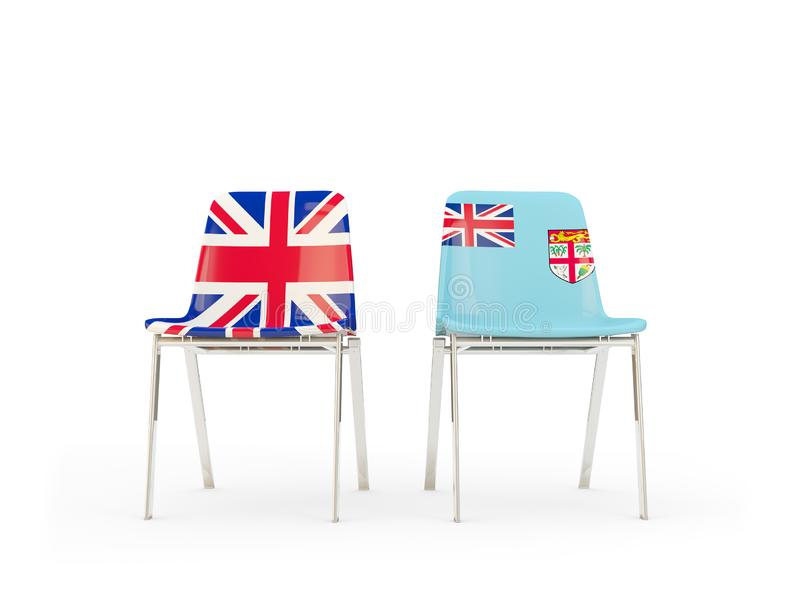 Two chairs with flags of United Kingdom and fiji isolated on white. Communication/dialog concept. 3D illustration royalty free illustration