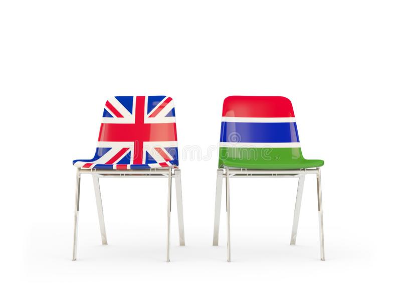 Two chairs with flags of United Kingdom and gambia isolated on white. Communication/dialog concept. 3D illustration vector illustration