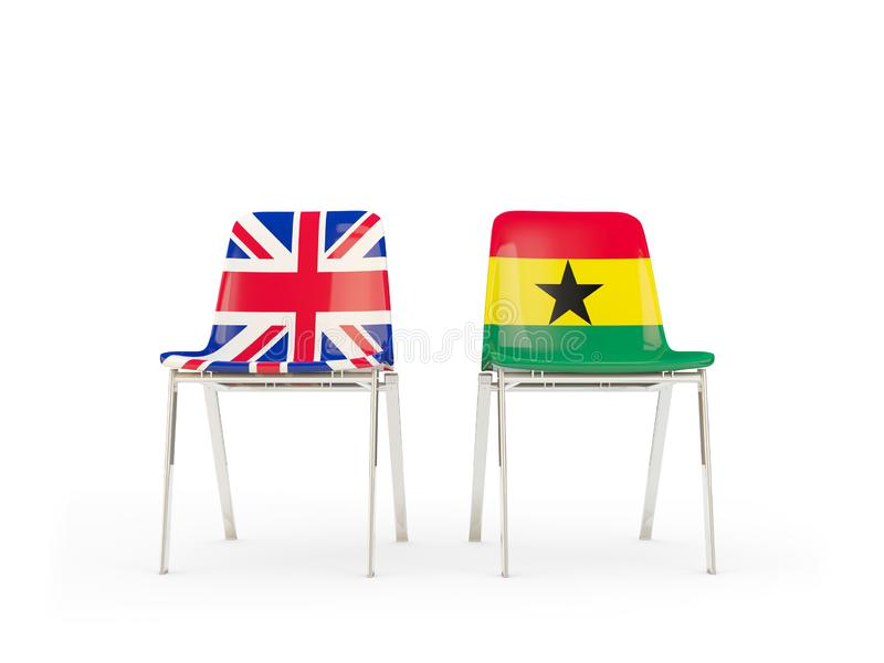 Two chairs with flags of United Kingdom and ghana isolated on white. Communication/dialog concept. 3D illustration stock illustration