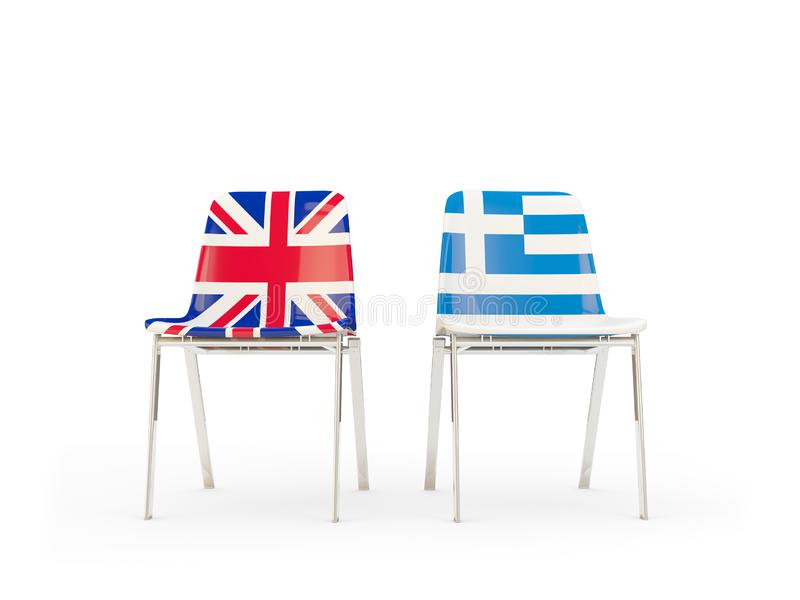 Two chairs with flags of United Kingdom and greece isolated on white. Communication/dialog concept. 3D illustration royalty free illustration