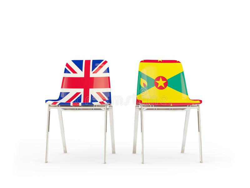 Two chairs with flags of United Kingdom and grenada isolated on white. Communication/dialog concept. 3D illustration stock illustration