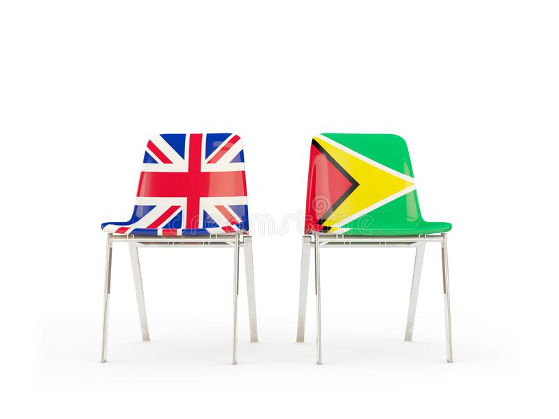 Two chairs with flags of United Kingdom and guyana isolated on white. Communication/dialog concept. 3D illustration royalty free illustration