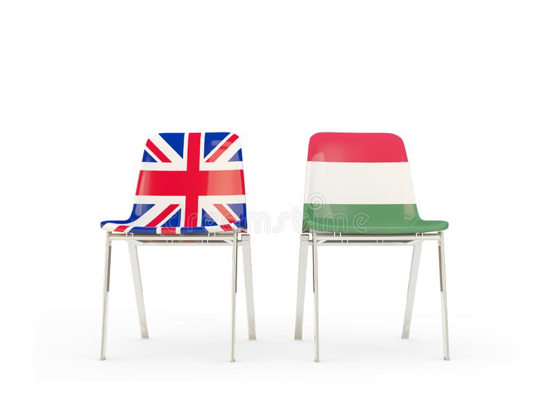 Two chairs with flags of United Kingdom and hungary isolated on white. Communication/dialog concept. 3D illustration stock illustration