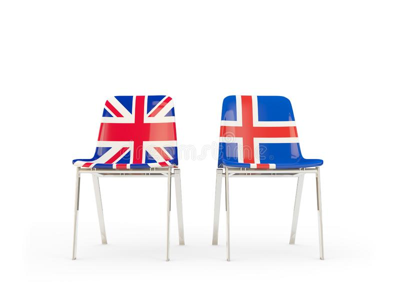 Two chairs with flags of United Kingdom and iceland isolated on white. Communication/dialog concept. 3D illustration royalty free illustration