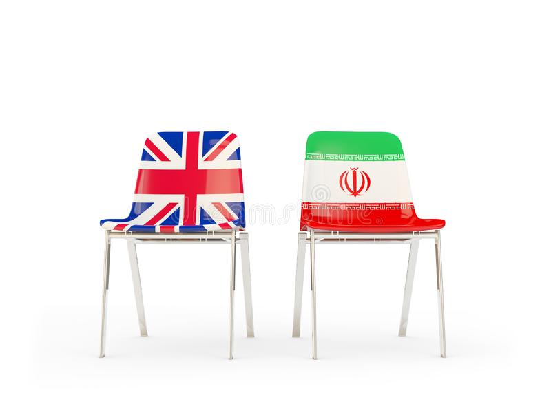 Two chairs with flags of United Kingdom and iran isolated on white. Communication/dialog concept. 3D illustration vector illustration