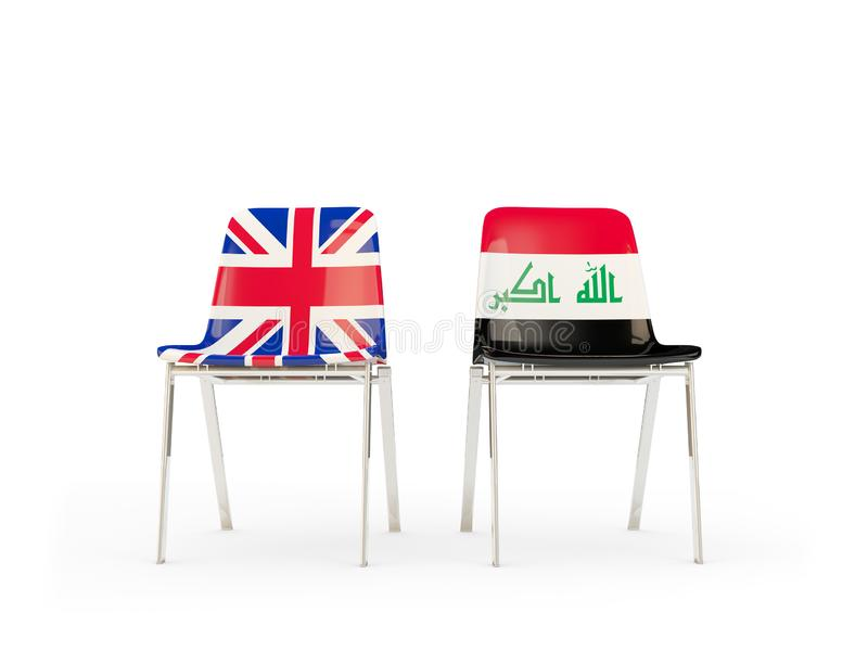Two chairs with flags of United Kingdom and iraq isolated on white. Communication/dialog concept. 3D illustration stock illustration