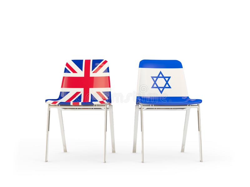 Two chairs with flags of United Kingdom and israel isolated on white. Communication/dialog concept. 3D illustration royalty free illustration