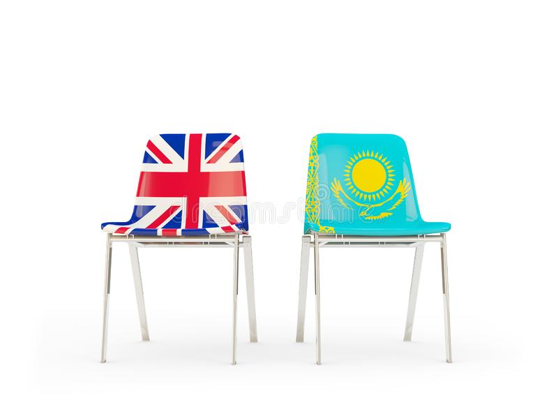 Two chairs with flags of United Kingdom and kazakhstan isolated on white. Communication/dialog concept. 3D illustration royalty free illustration