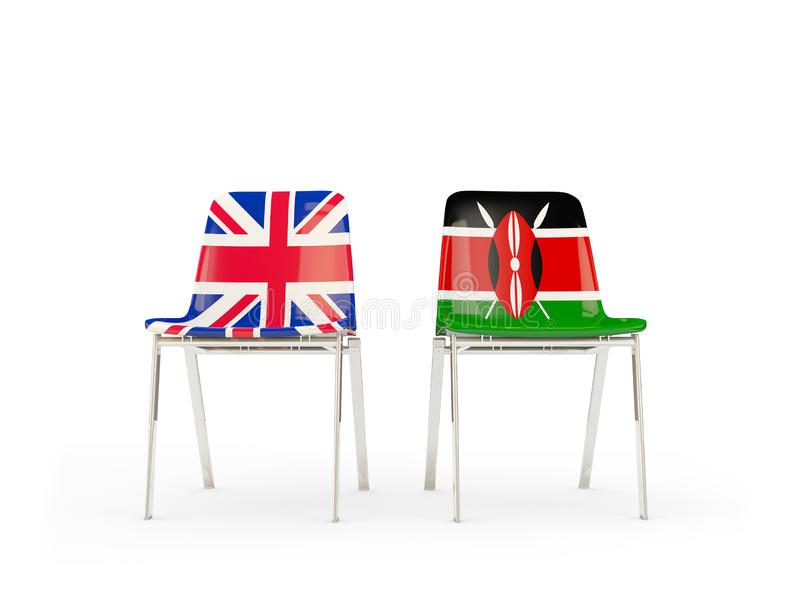 Two chairs with flags of United Kingdom and kenya isolated on white. Communication/dialog concept. 3D illustration royalty free illustration