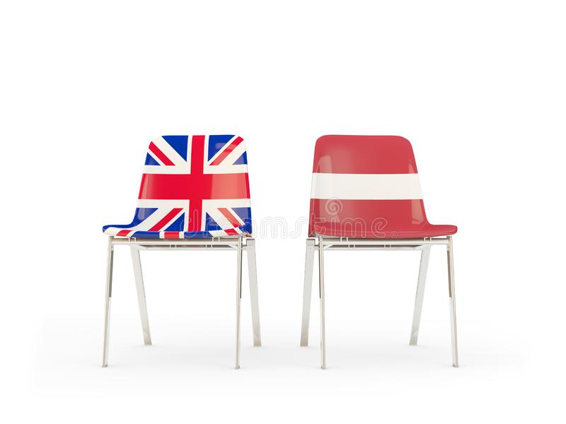 Two chairs with flags of United Kingdom and latvia isolated on white. Communication/dialog concept. 3D illustration stock illustration