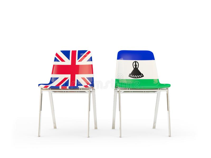 Two chairs with flags of United Kingdom and lesotho isolated on white. Communication/dialog concept. 3D illustration stock illustration