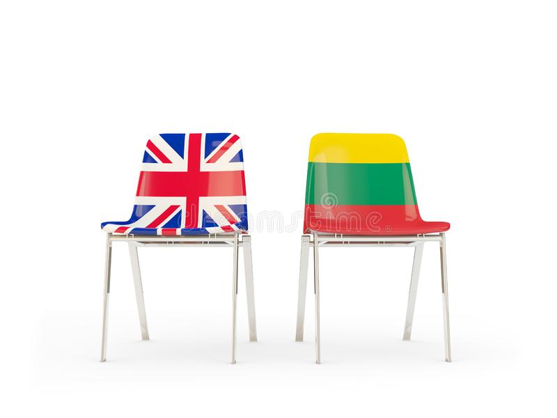 Two chairs with flags of United Kingdom and lithuania isolated on white. Communication/dialog concept. 3D illustration stock illustration