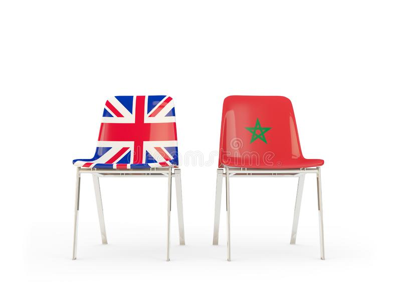 Two chairs with flags of United Kingdom and morocco isolated on white. Communication/dialog concept. 3D illustration vector illustration