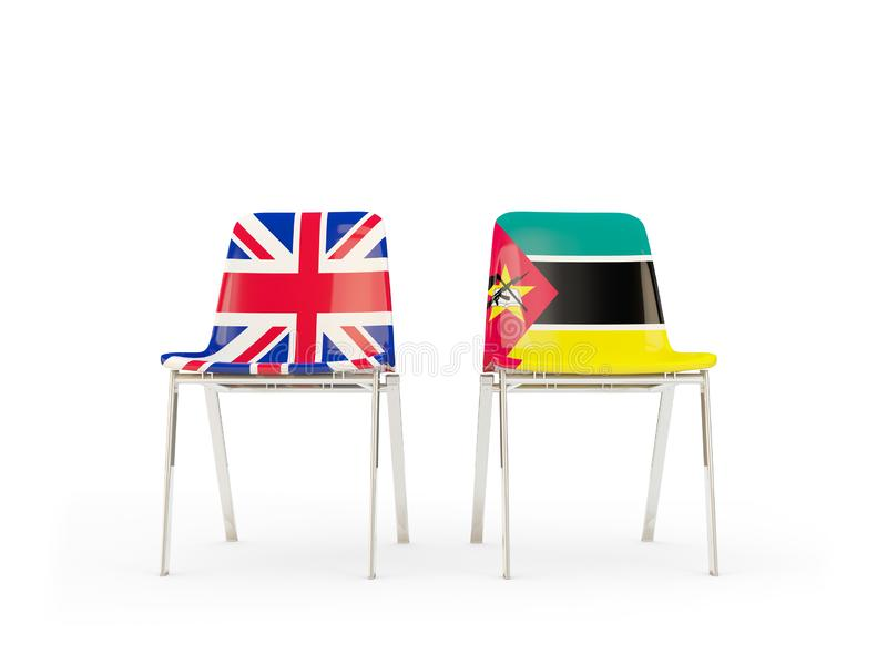 Two chairs with flags of United Kingdom and mozambique isolated on white. Communication/dialog concept. 3D illustration royalty free illustration